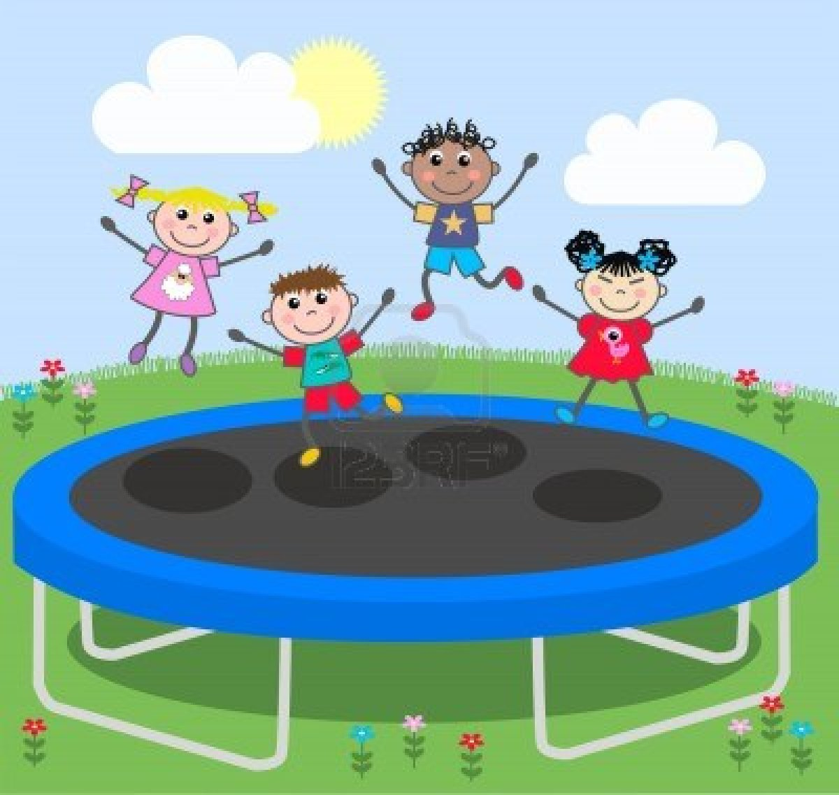 Kids jumping on trampoline clipart.