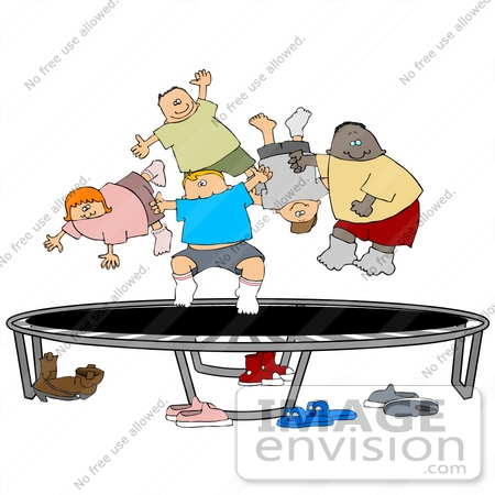 Clip Art Graphic of Boys and Girls Bouncing on a Trampoline.