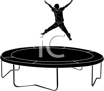 Silhouette of a Boy Jumping on a Trampoline.