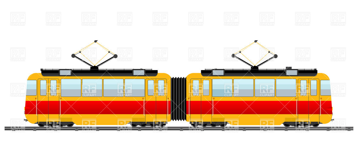 Red city tram Vector Image #6657.