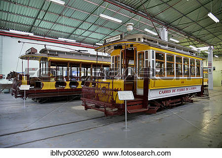 """Stock Photography of """"Old trams in the Museu da Carris tram museum."""