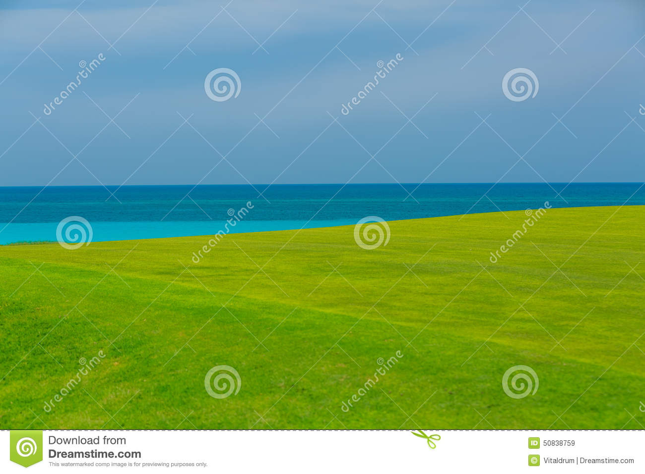 Gorgeous Fresh Green Grass Field Against Tranquil Ocean And Blue.