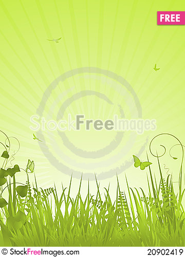 Green Tranquil Background Portrait.