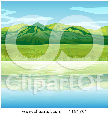 Cartoon of a Background of Lush Green Trees and a Field 2.