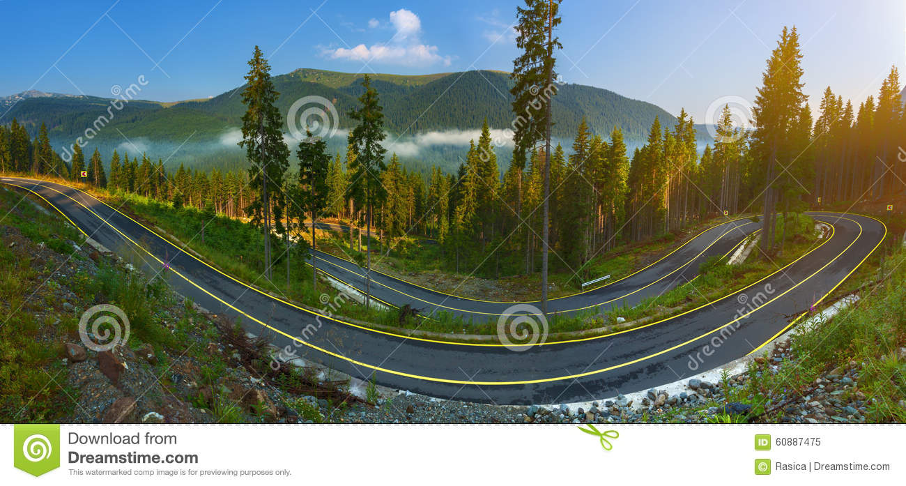 Panorama Of Transalpina Road In Romania Stock Photo.