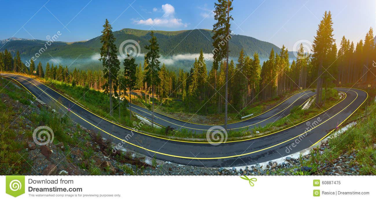 Panorama Of Transalpina Road In Romania Stock Photo.