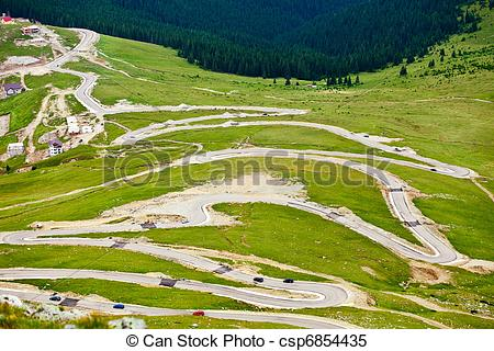 Stock Images of Transalpina winding road in Romania.