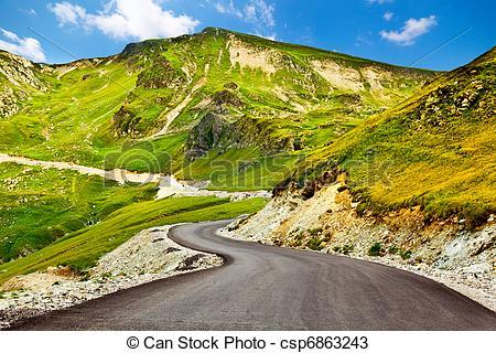 Stock Photos of Transalpina winding road in Romania.