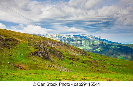 Stock Photo of Landscapes on Transalpina, Romania.