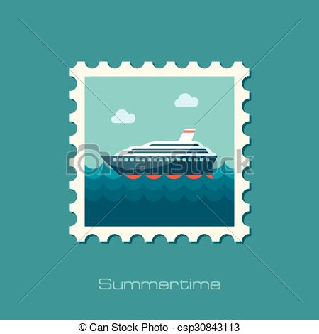 Vector Clip Art of Cruise transatlantic liner ship flat stamp.