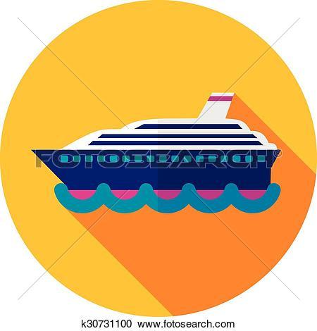Clipart of Cruise transatlantic liner ship flat icon k30731100.