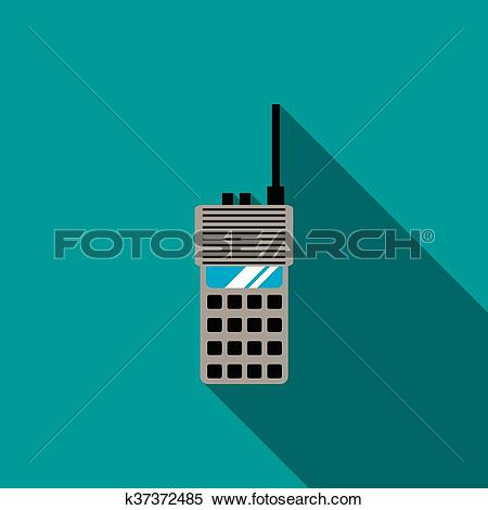 Clipart of Portable radio transceiver icon, flat style k37372485.