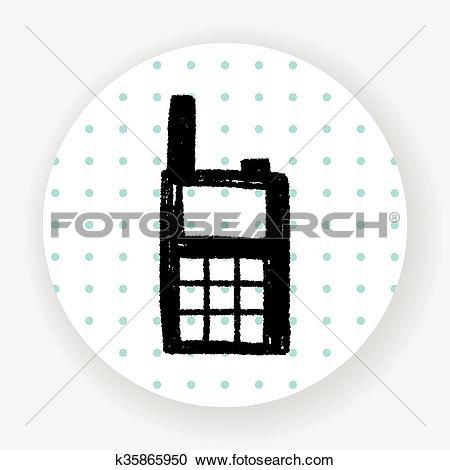 Clipart of handheld transceiver doodle k35865950.