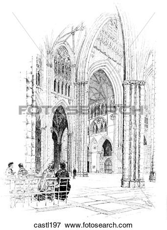 Stock Illustration of The Transept, Seen from the Nave, York.