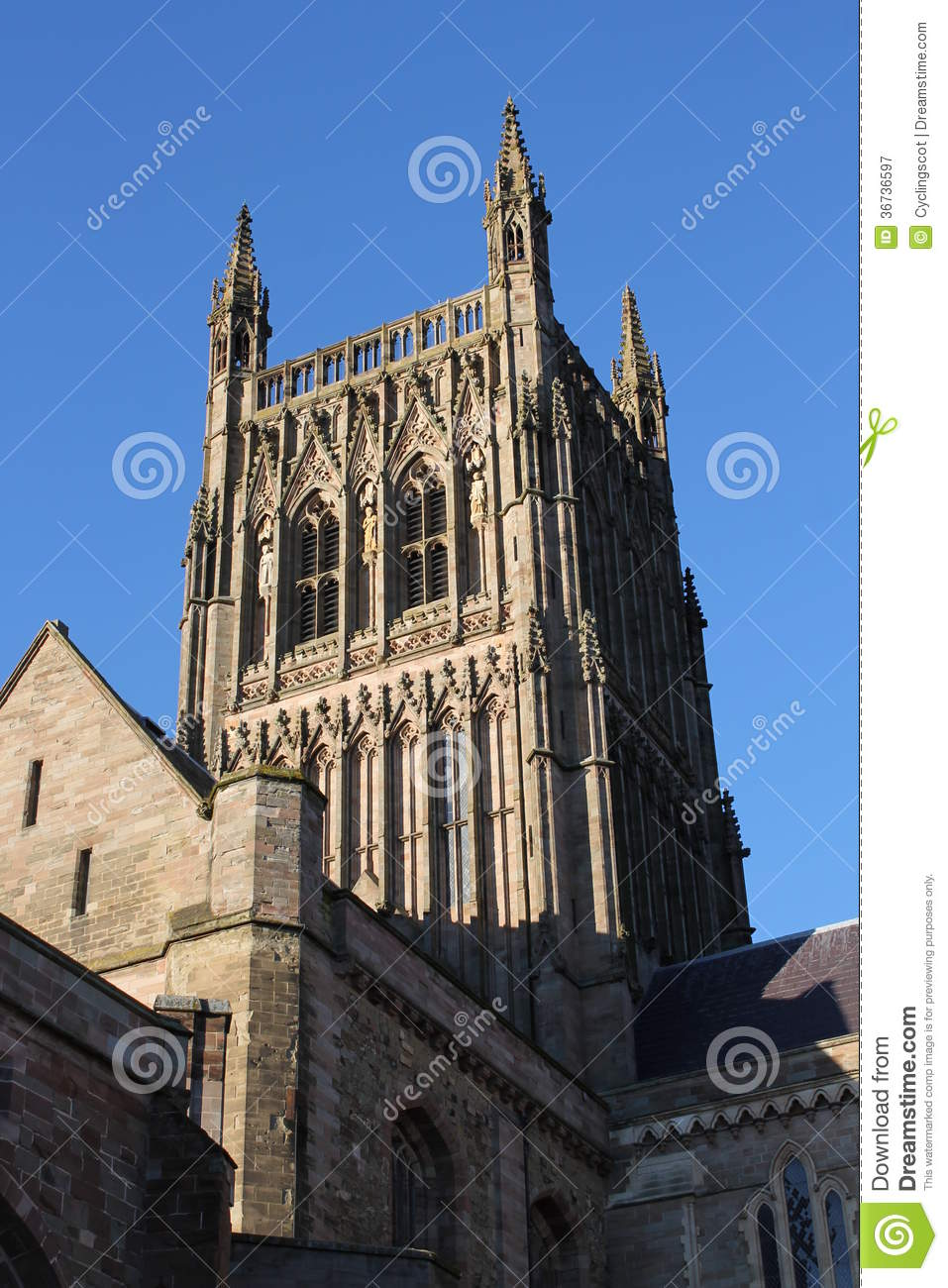 Worcester Cathedral Tower And South Transept Gable Royalty Free.