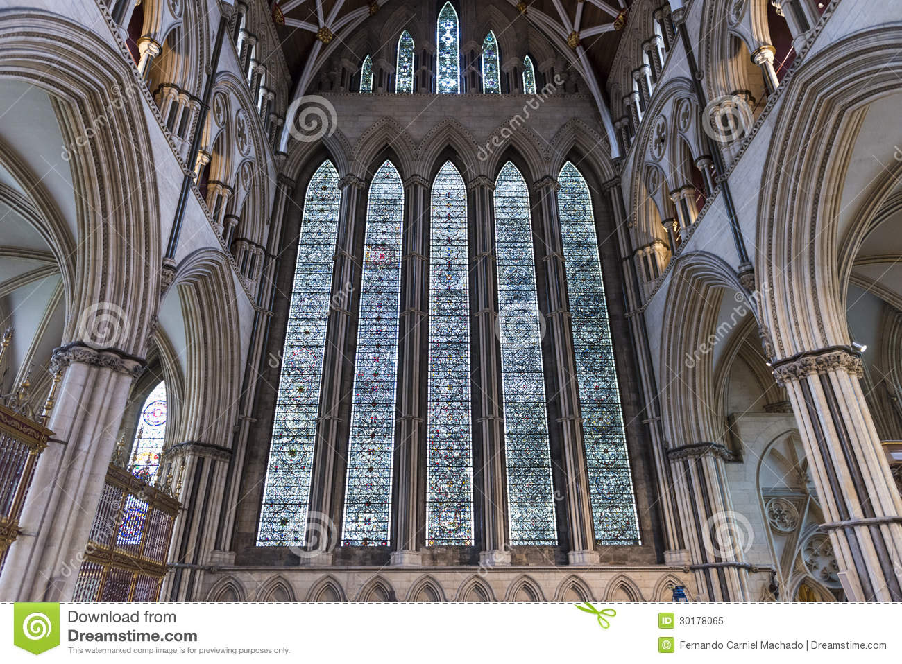 York Minster North Transept Stained Glass, UK Royalty Free Stock.