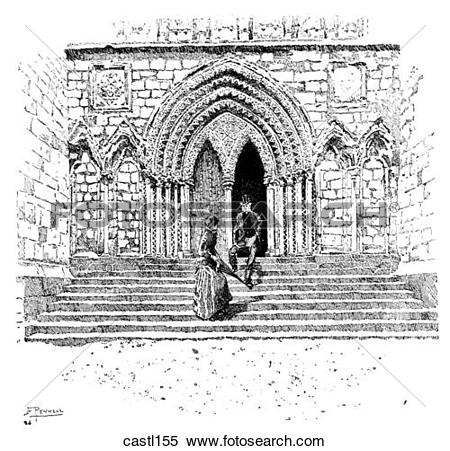 Stock Illustration of Doorway in the North Transept, Lichfield.