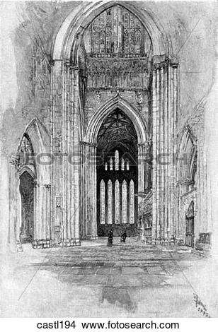 Drawings of The Five Sisters from the South Transept Entrance.