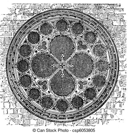 Clipart Vector of Dean's eye rose window in the North Transept of.
