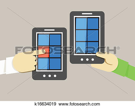 Clip Art of Mobile phone information transfer illustration.