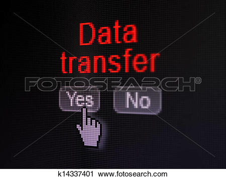 Clipart of Information concept: Data Transfer on digital computer.