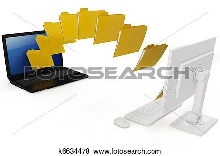 Stock Illustration of 3d laptop and computer data transfer.