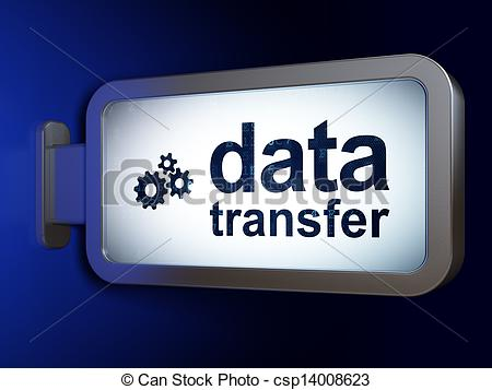 Clip Art of Information concept: Data Transfer and Gears on.