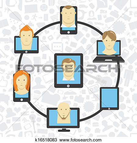 Clipart of Wireless information transfer across modern gadgets.