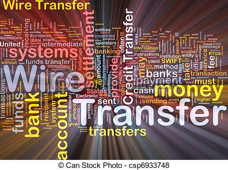 Stock Illustration of Wire transfer background concept glowing.