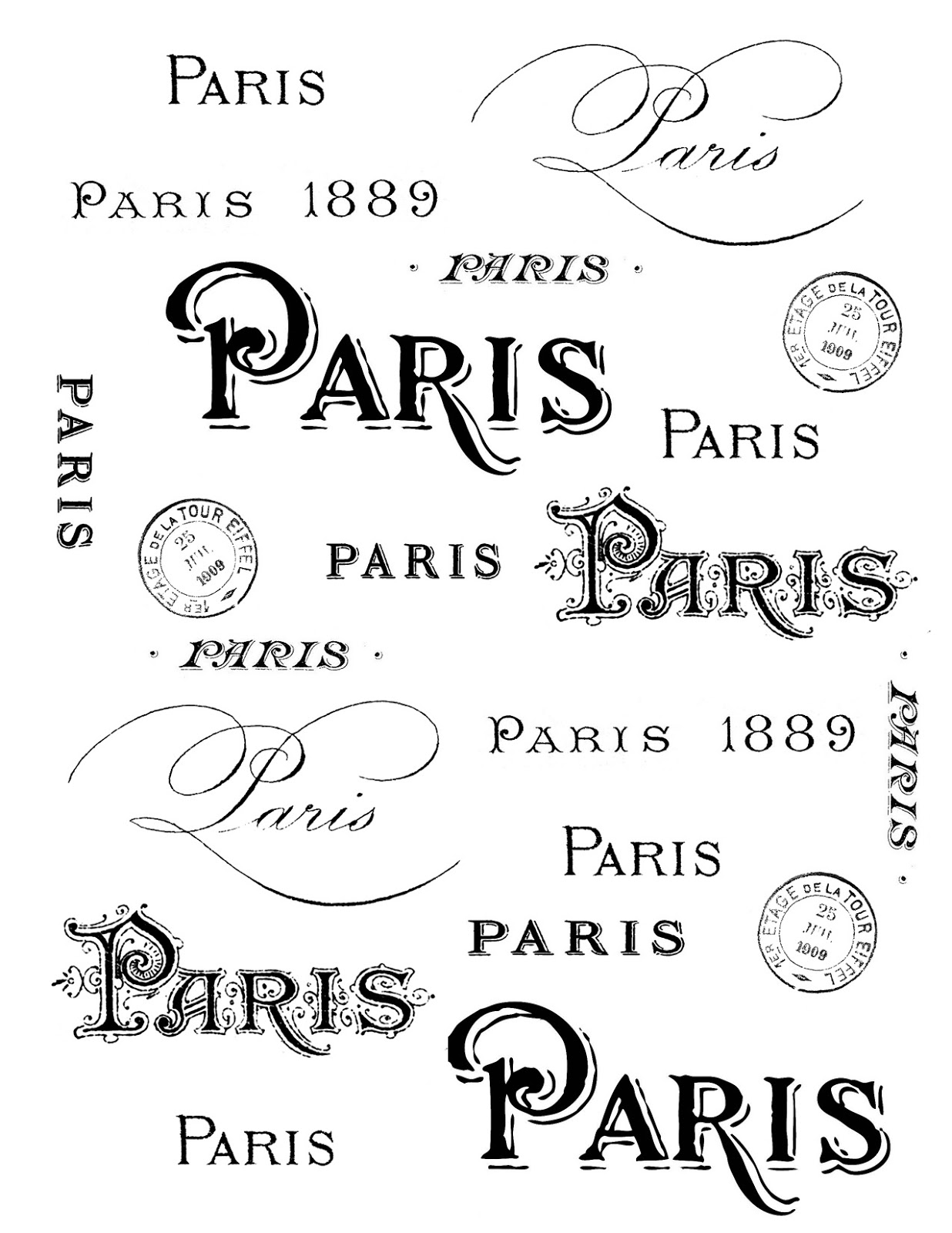 French Transfer Printable.