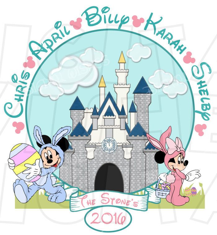 Disney Easter Spring Mickey Minnie Mouse PERSONALIZED Family Names Vacation Digital Iron On Transfer Clip Art DIY For Shirt