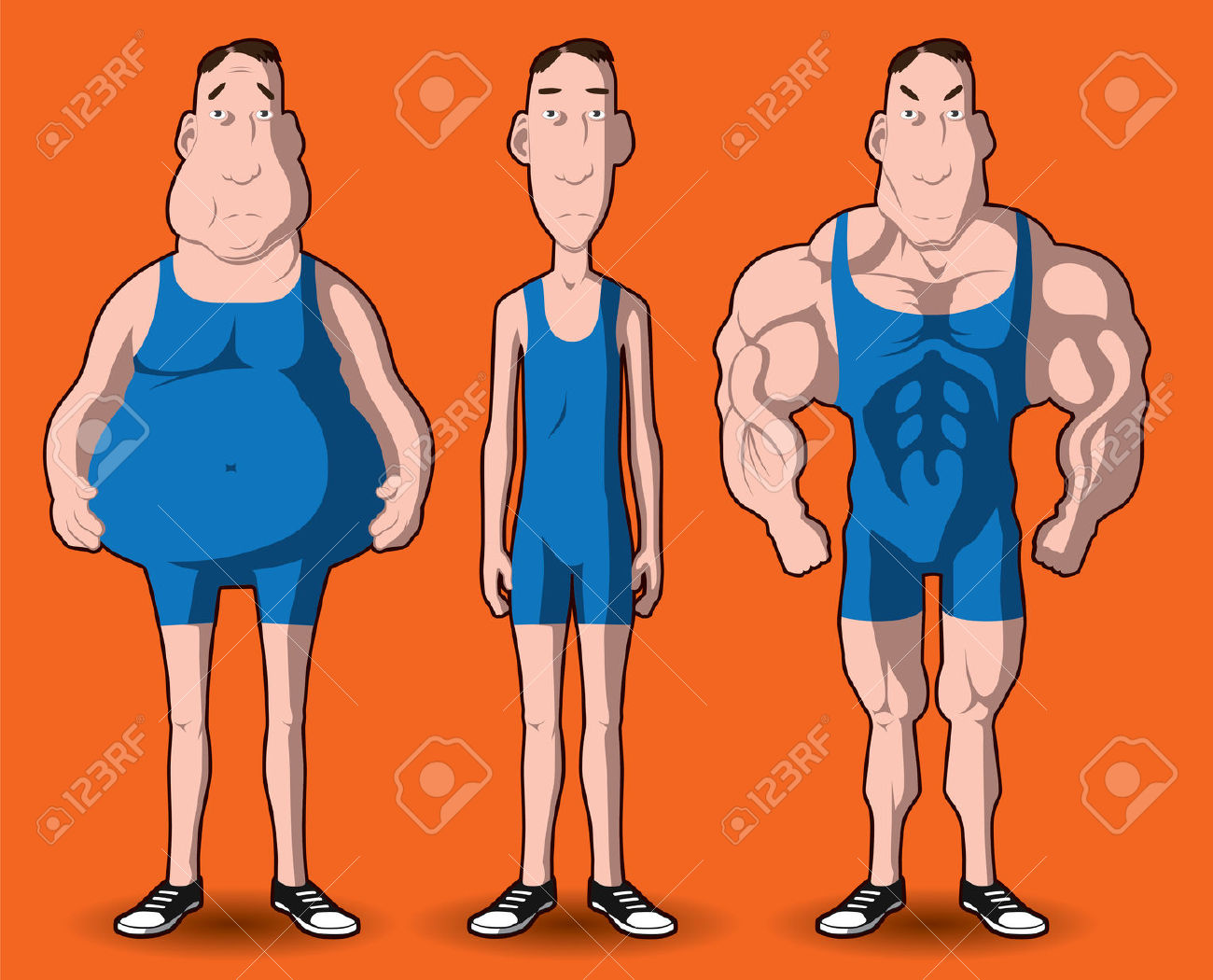 Body transformation clipart.