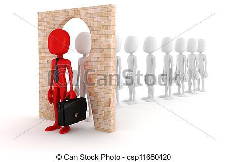 Clip Art of 3d man regular person to business man transform.