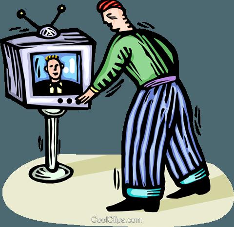 homem transformar os canais de TV livre de direitos Vetores.