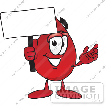 Clip Art Graphic of a Transfusion Blood Droplet Mascot Cartoon.