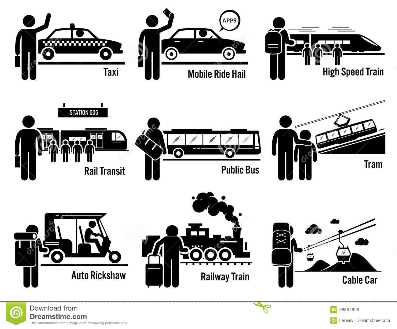 Land Public Transportation Vehicles And People Set Clipart Stock.