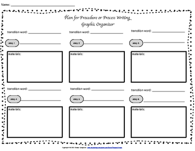 Process and Procedure Writing GRAPHIC ORGANIZER with Transition Words.