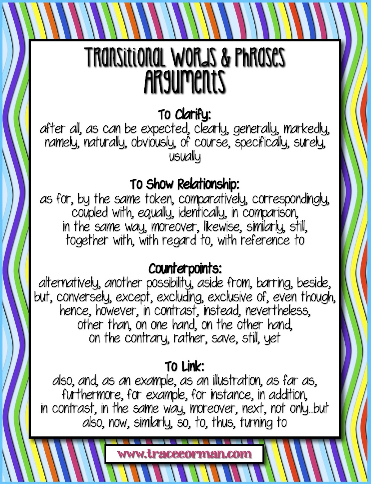 Mrs. Orman's Classroom: Common Core Tips: Using Transitional Words.