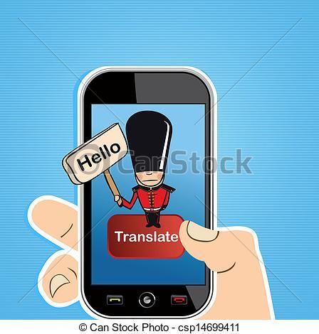 Vector Clip Art of Smart phone translate concept.