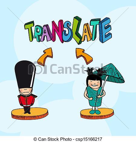 Vector Clip Art of Translation concept italian portuguese people.