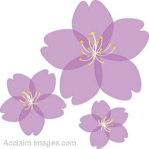 Clipart Illustration of Translucent Spring Blossoms.