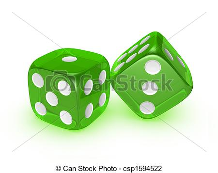 Clip Art of translucent green dice on white background.
