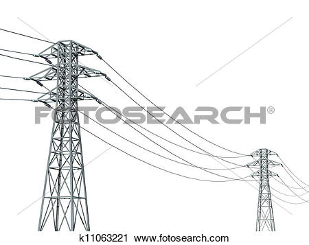 Clipart of power line on a white background k11063221.