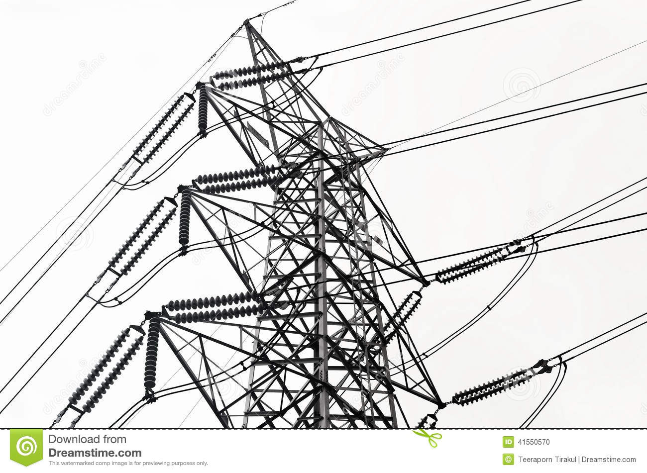 Power Transmission Lines Stock Photo.