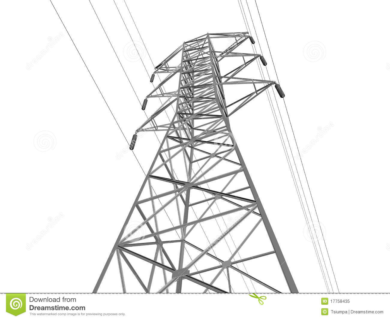 Single Electricity Transmission Tower Hill Stock Illustrations.