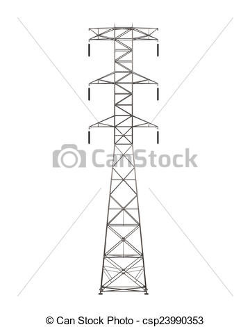 Stock Illustrations of Power Transmission Tower isolated on white.