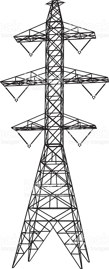 Electricity Transmission Tower Silhouette stock vector art.