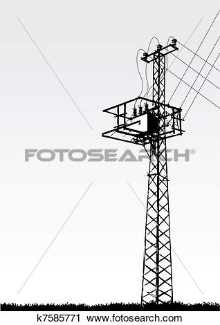 Clipart of transmission tower k7585771.