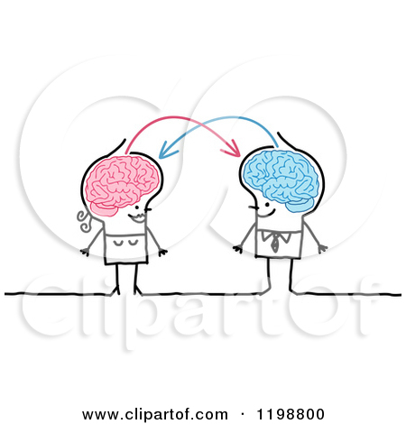 Clipart of a Happy Stick Couple with Connected Brains Sharing.