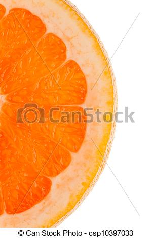 Stock Photos of Macro shot of a half slice of orange in.